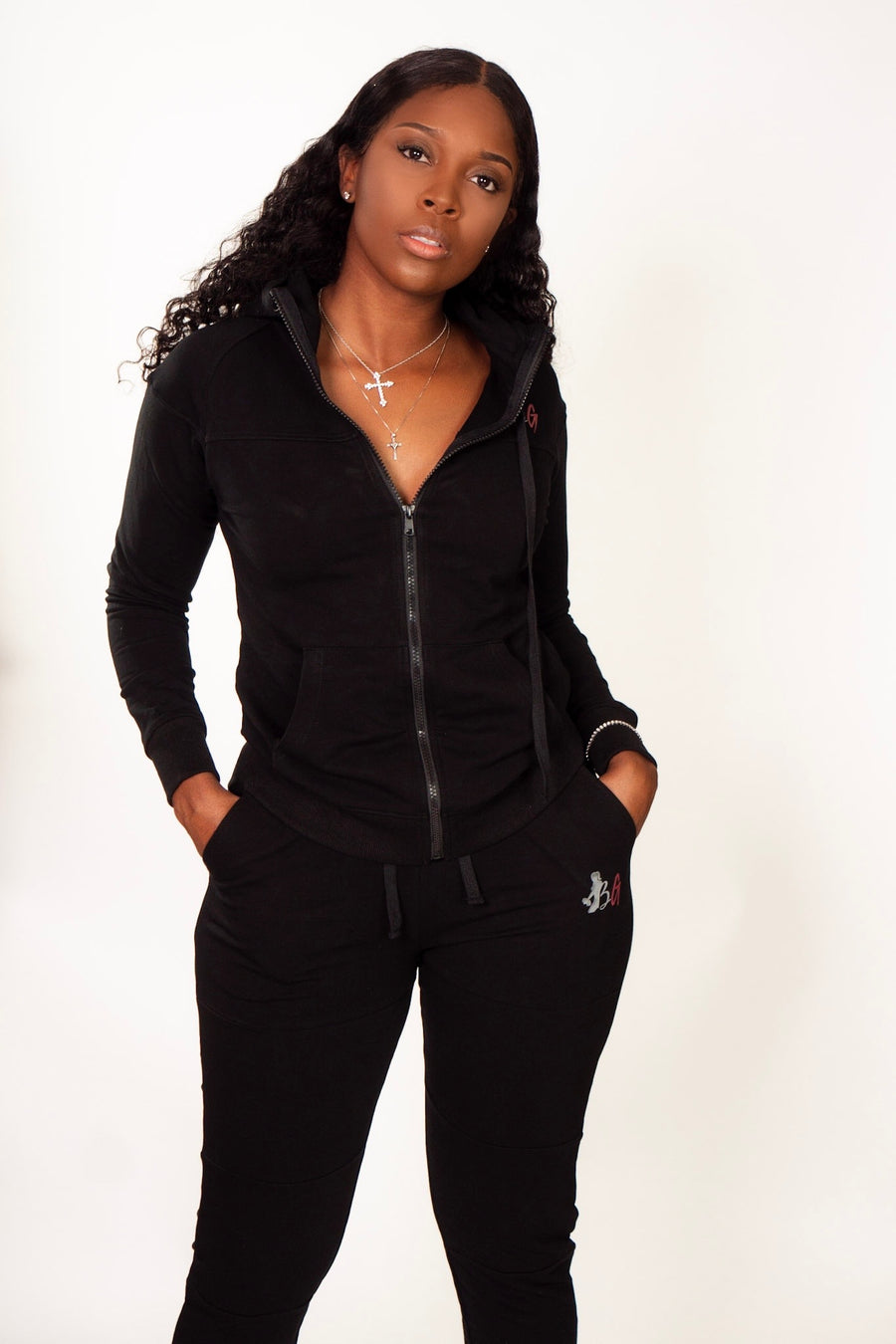 Women's black jogger set