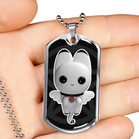 Ouija Me Pentacle Kitty Dog Tag Necklace