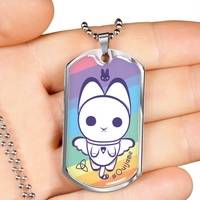 Ouija Me Rainbow Kitty Dog Tag Necklace
