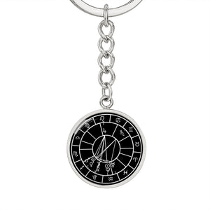 Personalized Natal Chart Pendant with Keychain - Black