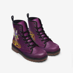 Baphomet Leather Boots - Purple