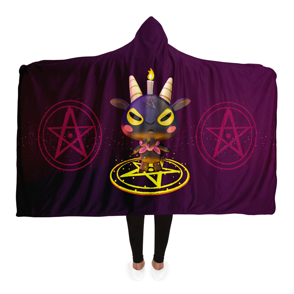 Baphomet 3D Hooded Blanket - Purple