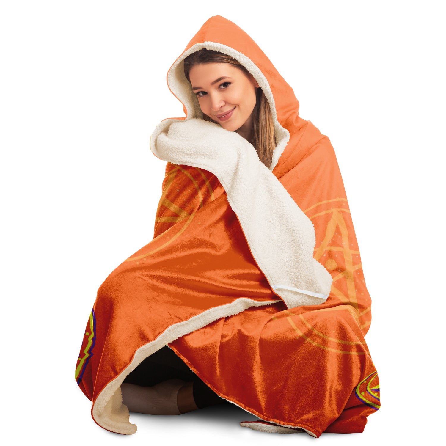 Baphomet 3D Hooded Blanket - Orange