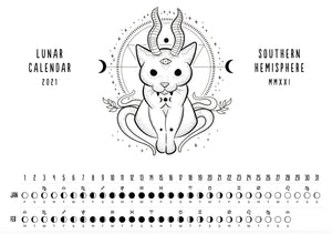 2021 Printable Lunar Calendar - Witchy Cat