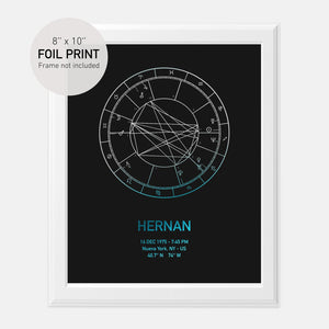 Personalized Birth Chart Foil Print 8x10''