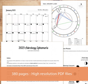 2021 Printable Astrology Ephemeris & Lunar Calendar