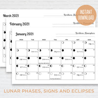 2021 Printable Lunar Calendar Monthly