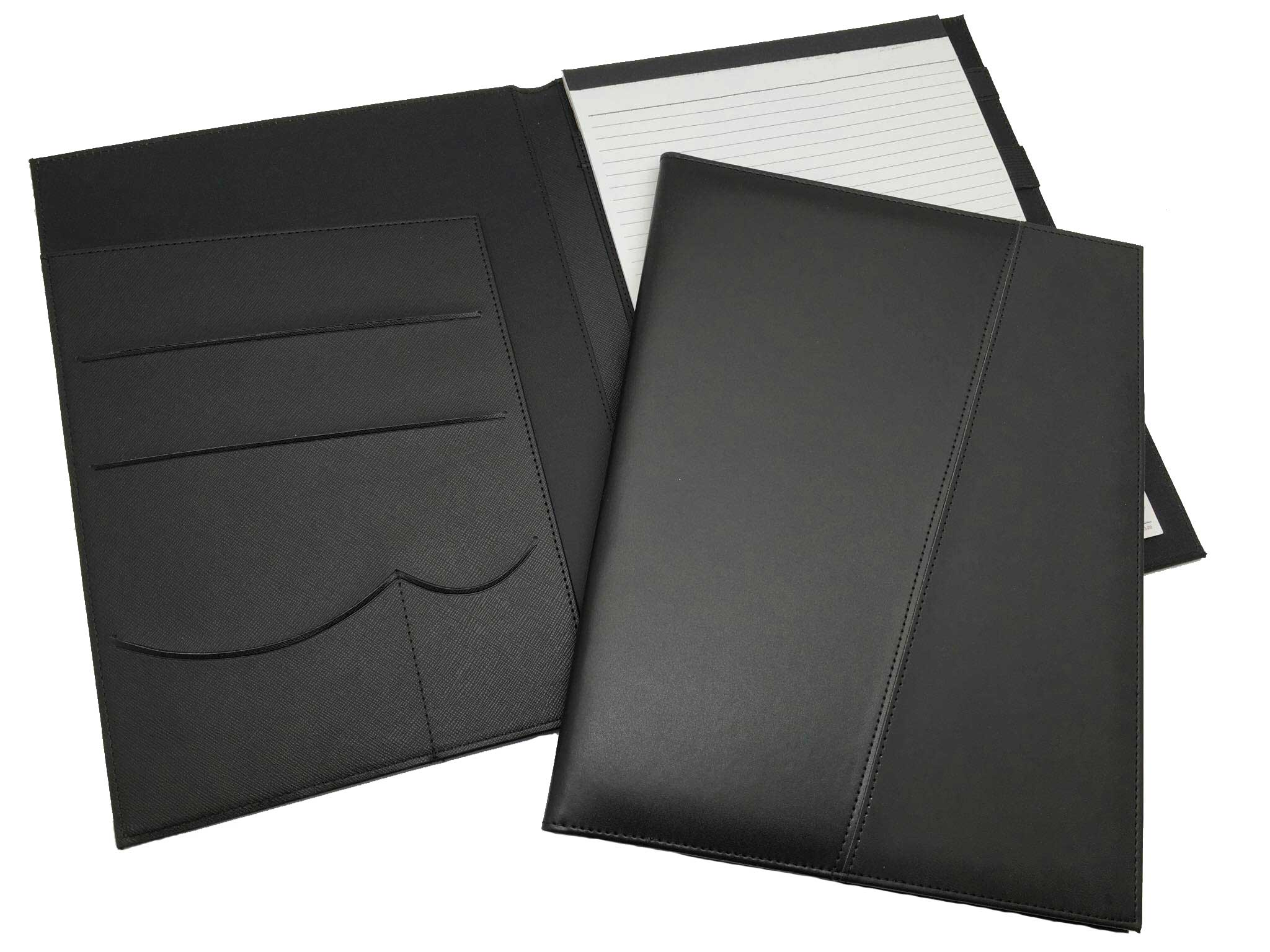 R'fillae A4 PU Leather Black Portfolio with Notepad