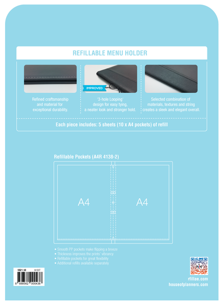 [Bulk Order] R'fillae A4/A5 PU Leather Refillable Menu Folder
