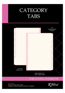 R'fillae A5 Organiser Planner Refill Category Tabs