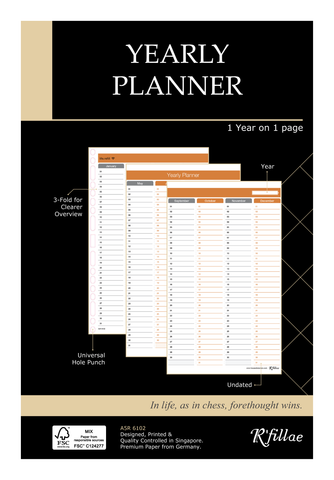 R'fillae A5 3Z Planning System Undated Yearly Planner Diary Refill