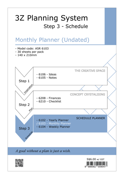 R'fillae A5 3Z Planning System Undated Monthly Planner Diary Refill