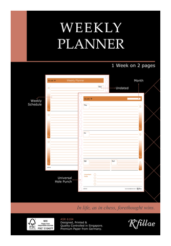 R'fillae A5 3Z Planning System Undated Weekly Planner Diary Refill