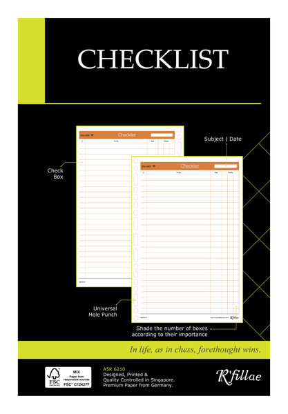 R'fillae A5 3Z Planning System Checklist Planner Diary Refill