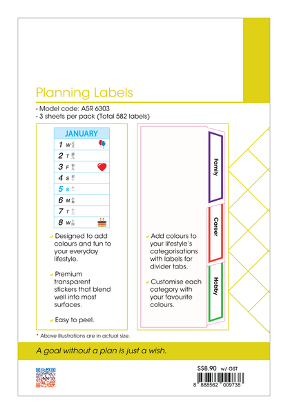 R'fillae A5 Organiser Planner Refill Planning Labels