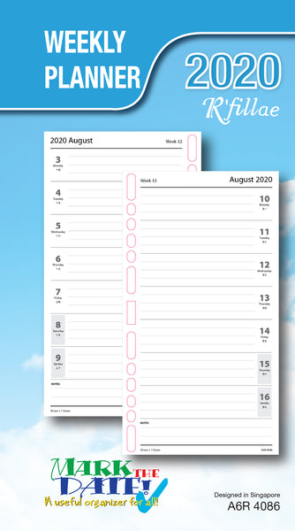 R'fillae A5/A6/A7 Weekly Planner Diary Refill