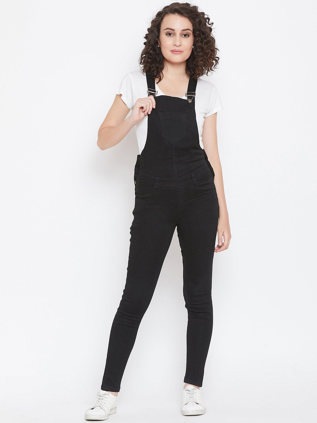 Slim Fit Stretchable Black Dungarees - NiftyJeans