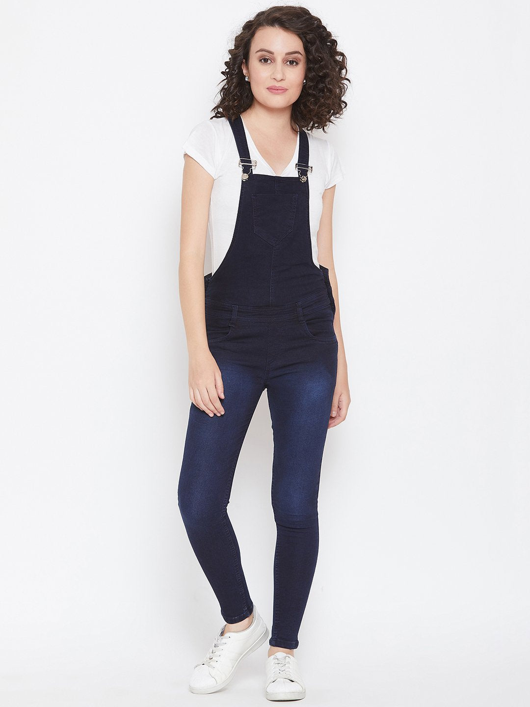 Slim Fit Stretchable Blue Dungarees - NiftyJeans