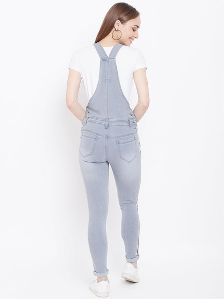 Slim Fit Side Stripe Grey Dungarees - NiftyJeans