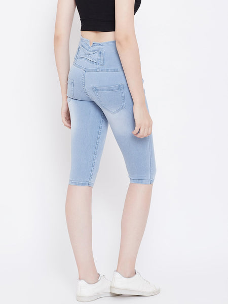 High Waist 5 Button Sky Blue Capris - NiftyJeans