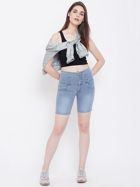 High Waist 5 Button Grey Shorts - NiftyJeans