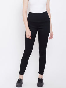 High Waist Stretchable Black Jeggings - NiftyJeans