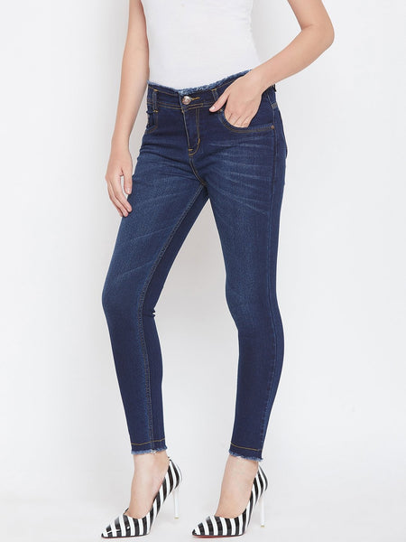 Stretchable with frayed hems Basic Blue Jeans - NiftyJeans