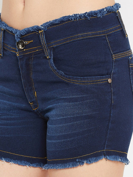 Stretchable with whiskers Basic Blue Shorts - NiftyJeans