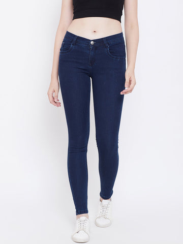 Slim Fit Stretchable Basic Blue Jeans - NiftyJeans