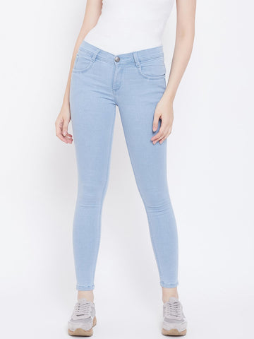 Slim Fit Stretchable Sky Blue Jeans - NiftyJeans