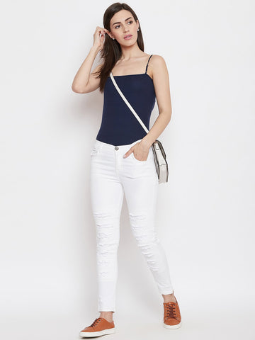 Distressed Stretchable White Jeans - NiftyJeans