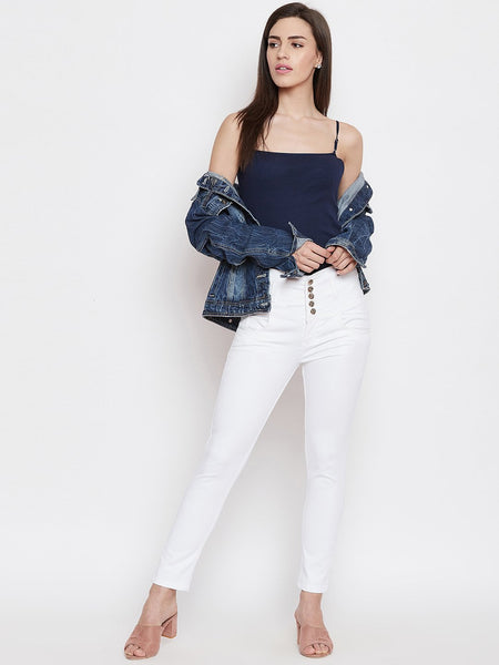 High Waist 5 button White Jeans - NiftyJeans