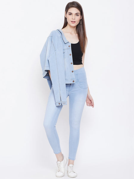High Waist 5 button Sky Blue Jeans - NiftyJeans