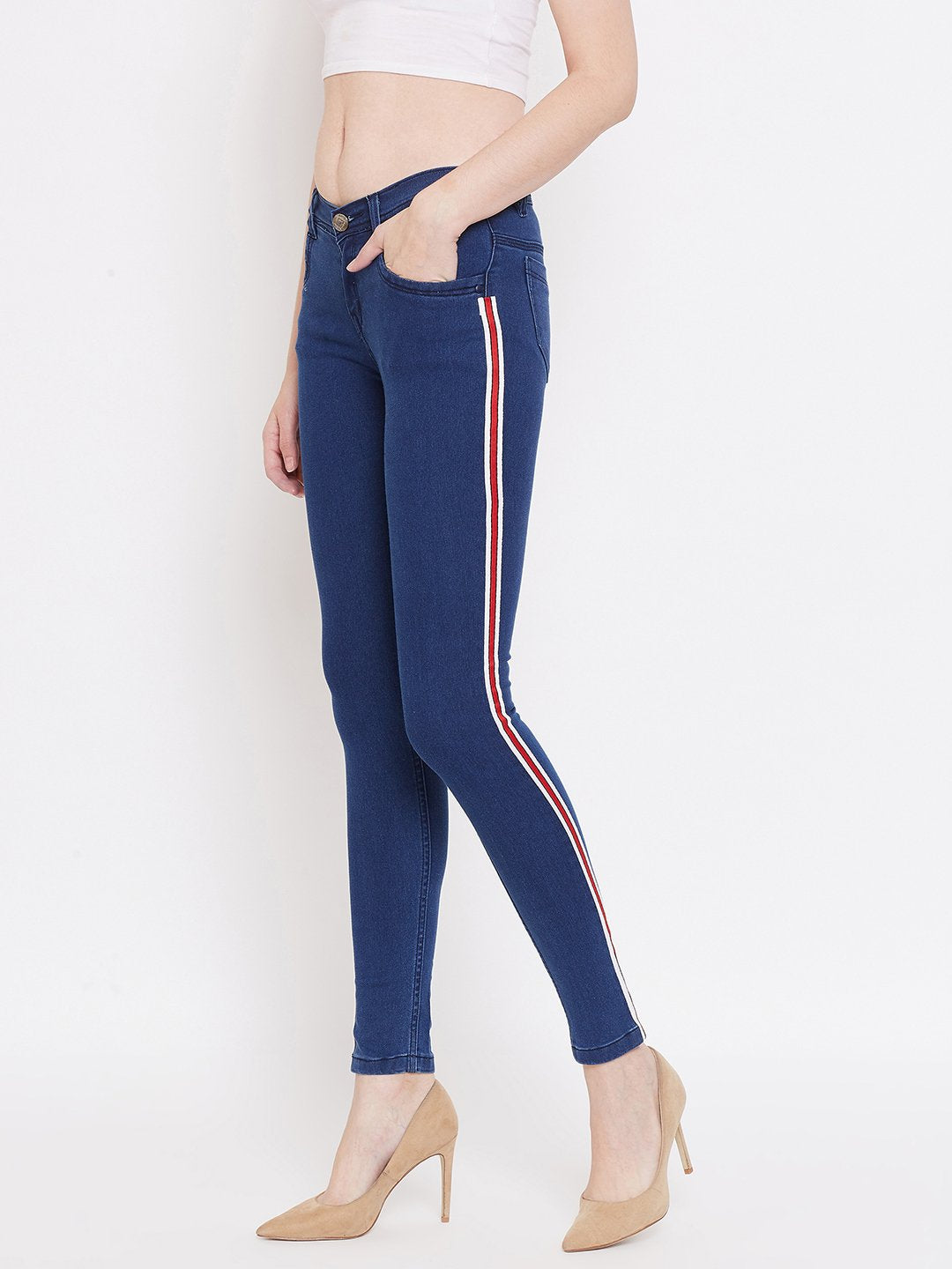 Slim Fit Side Stripe Bata Blue Jeans - NiftyJeans