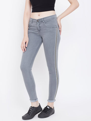 Slim Fit Side Stripe Grey Jeans - NiftyJeans