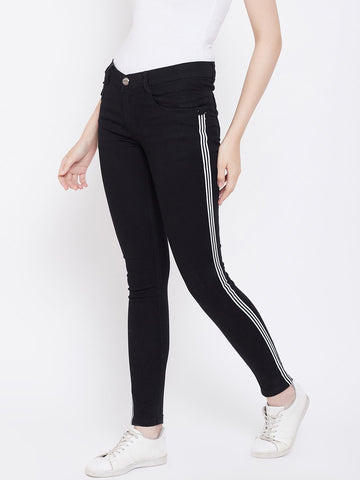 Slim Fit Side Stripe Black Jeans - NiftyJeans