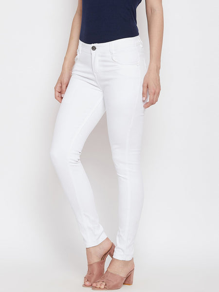 Slim Fit Stretchable White Jeans - NiftyJeans