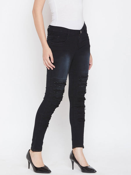 Distressed Stretchable Black Jeans - NiftyJeans