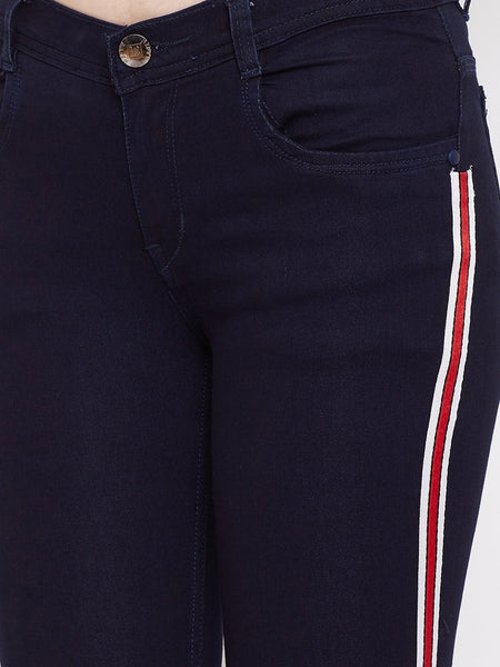Slim Fit Side Stripe Carbon Blue Jeans - NiftyJeans