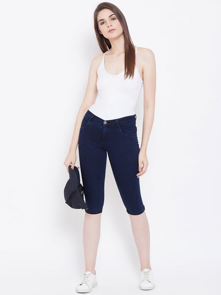 Slim Fit Stretchable Blue Capris - NiftyJeans