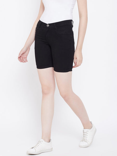 Slim Fit Stretchable Black Shorts - NiftyJeans