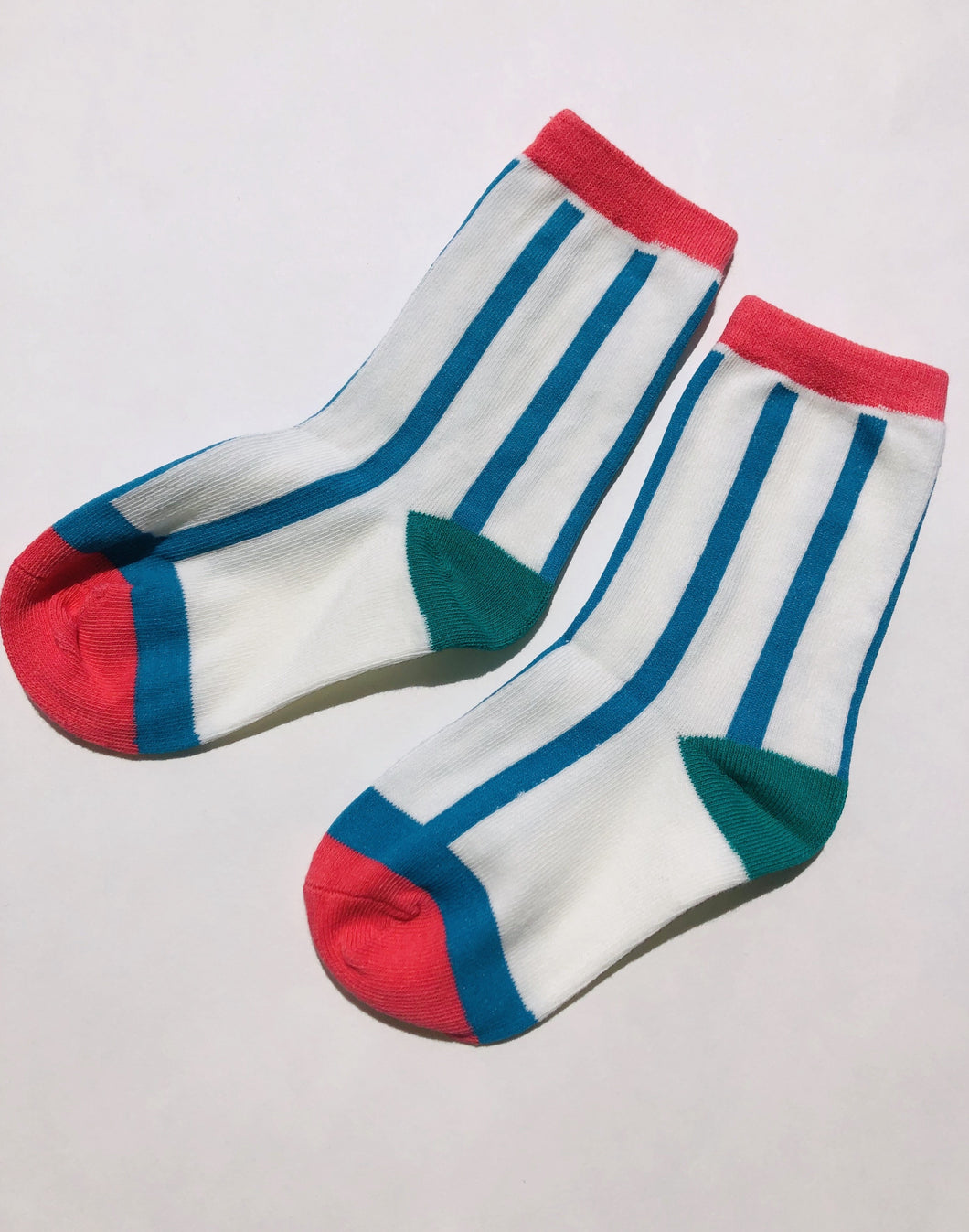Short white with blue stripes sock
