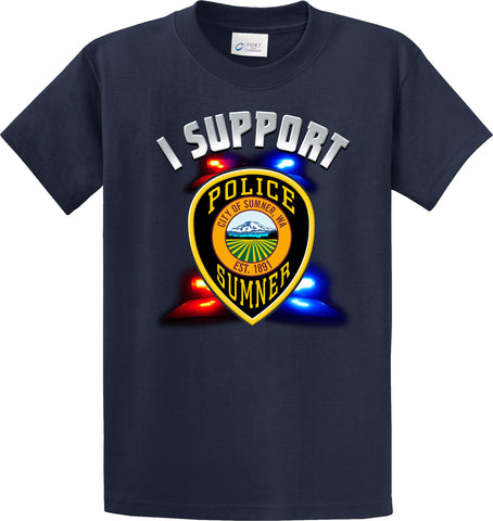 "Sumner Police Department Support Shirt Blue T-Shirt ""I support"" #33832"