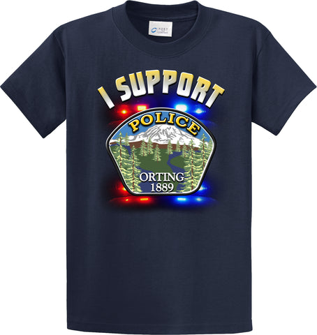 "Orting Police Department Support Shirt Blue T-Shirt ""I support"" #33836"