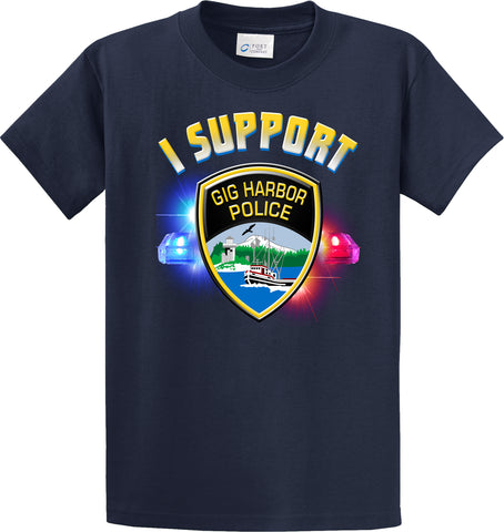 "Gig Harbor Police Department Support Shirt Blue T-Shirt ""I support"" #33842"