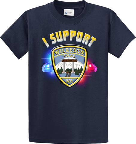 "Wilkeson Police Department Support Shirt Blue T-Shirt ""I support"" #33844"