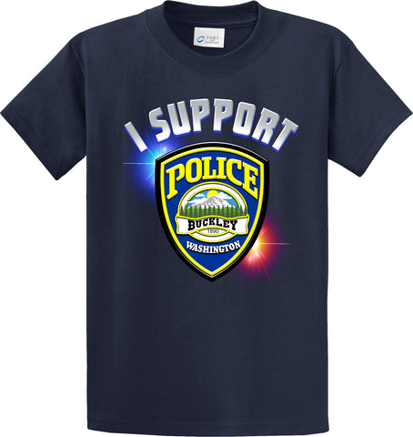 "Buckley Police Department Support Shirt Blue T-Shirt ""I support"" #33848"