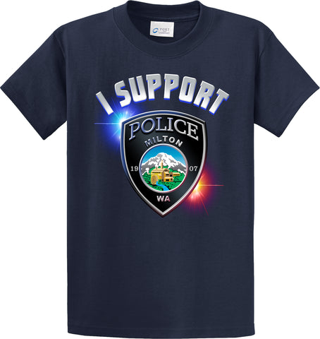 "Milton Police Department Support Shirt Blue T-Shirt ""I support"" #33857"