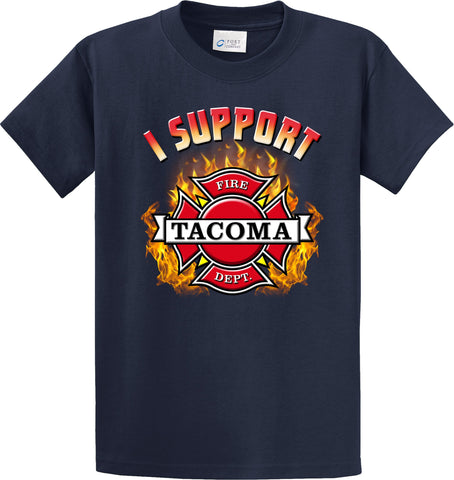"Tacoma Fire Department Support Shirt Blue T-Shirt ""I support"" #33912"