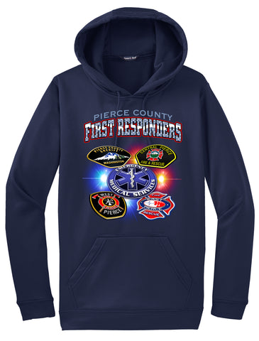 First Responders Logo Collage Pierce County Navy Blue  Hoodie  #33959